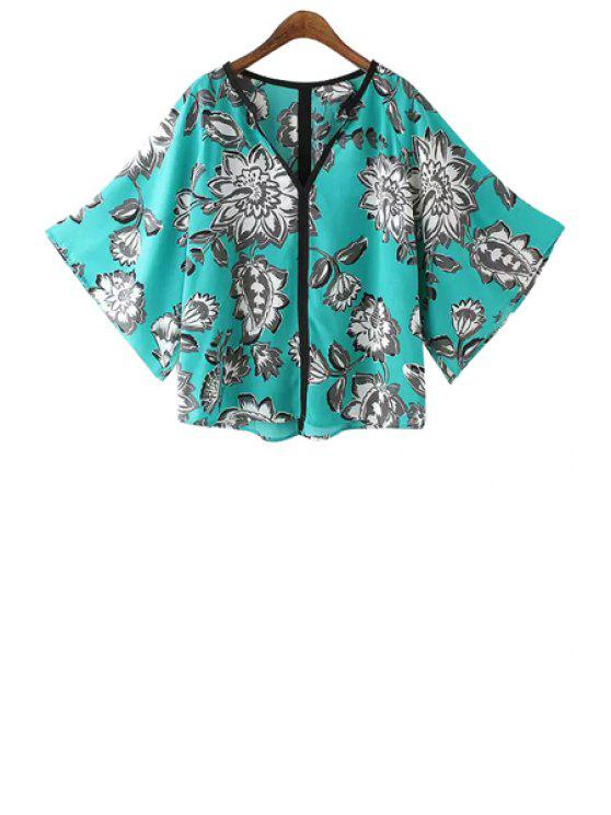 latest V-Neck White Floral Print Shirt - BLUE S