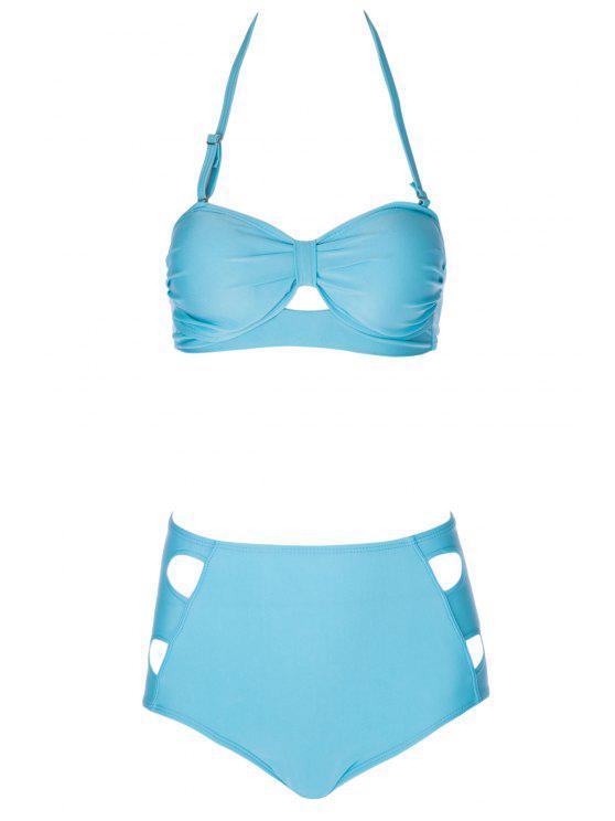 shops Solid Color High Waisted Bikini Set - LAKE BLUE S