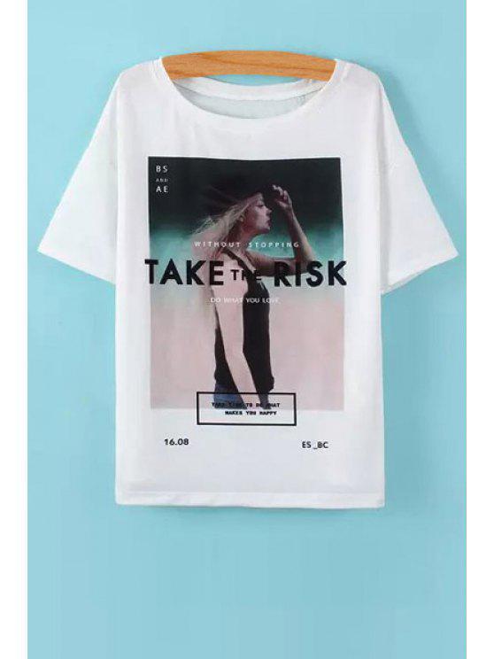 unique Figure Letter Print Short Sleeve T-Shirt - WHITE S