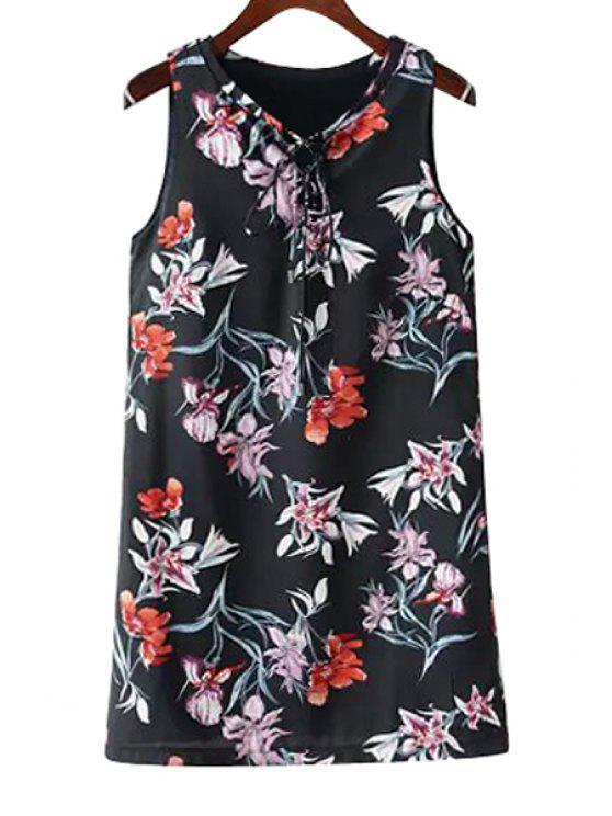 new Floral Print Tie-Up Sleeveless Dress - PURPLISH BLUE S