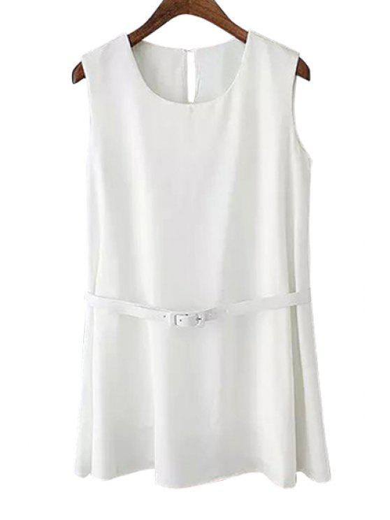 best Solid Color Belt Sleeveless Dress - WHITE S