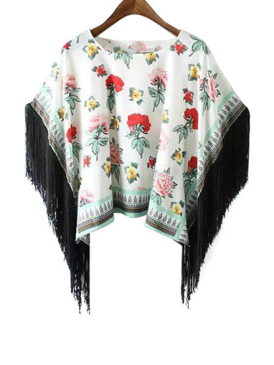 buy Floral Print Fringe Splicing Batwing Sleeve T-Shirt - WHITE S