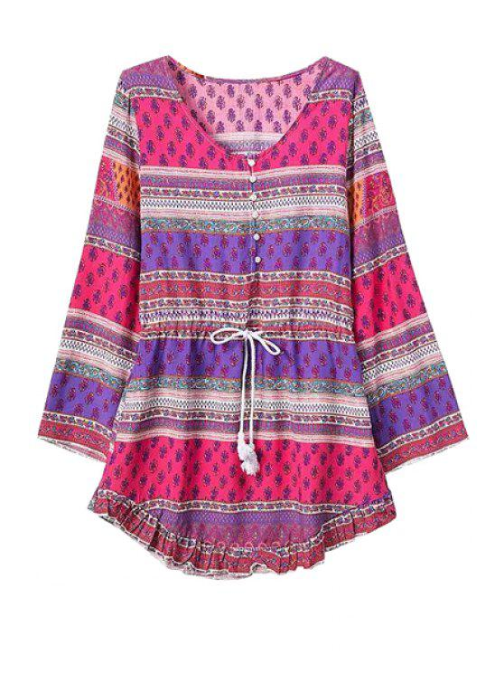 fashion Color Block Stripe Print Tie-Up Dress - PURPLE S