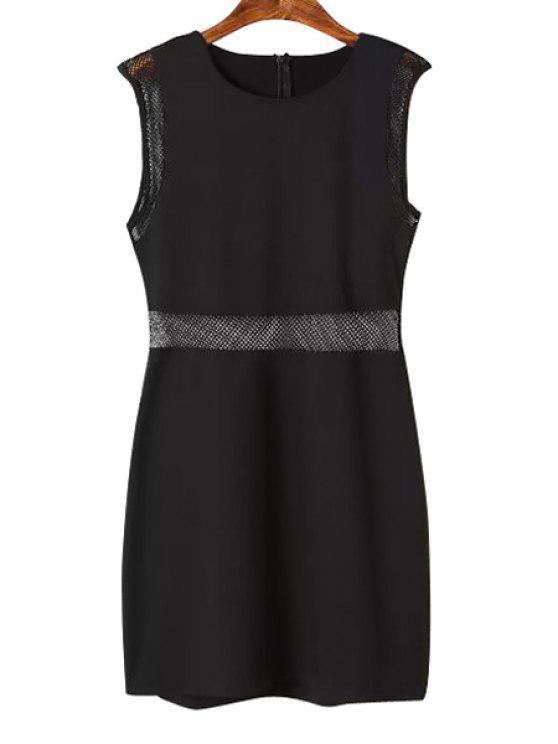 trendy Solid Color Mesh Openwork Dress - BLACK S