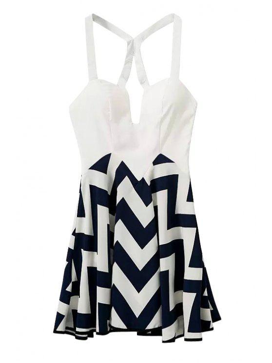 fancy Spaghetti Strap Color Block Stripe Dress - WHITE AND BLACK S