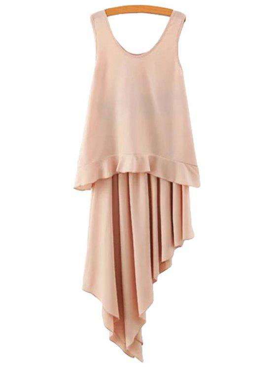 chic Irregular Hem Skirt and Solid Color Tank Top Suit - NUDE S