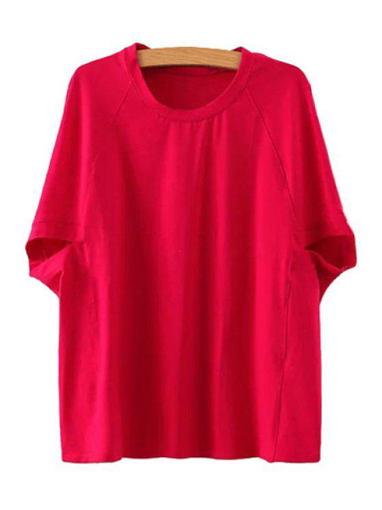 online Bat-Wing Sleeves Solid Color T-Shirt - RED ONE SIZE(FIT SIZE XS TO M)