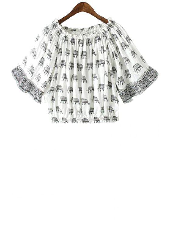 chic Elephant Print Elastic Short Sleeve Blouse - GREY AND WHITE M