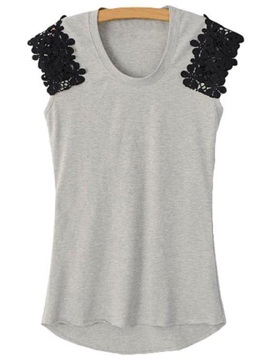 hot Lace Spliced Sleeveless T-Shirt - GRAY S