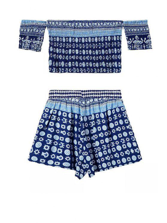 sale Geometric Print T-Shirt + Elastic Waist Shorts - BLUE S