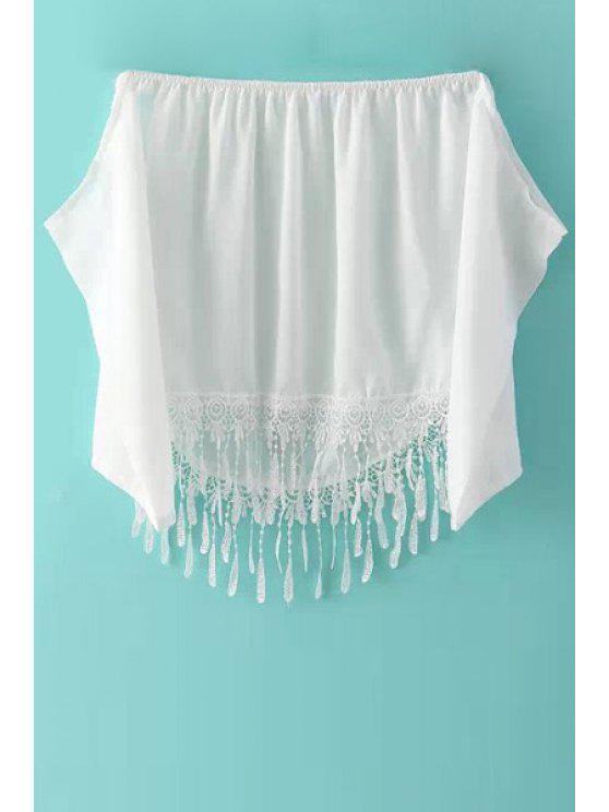 fashion Lace Spliced Chiffon Slash Neck Blouse - WHITE M