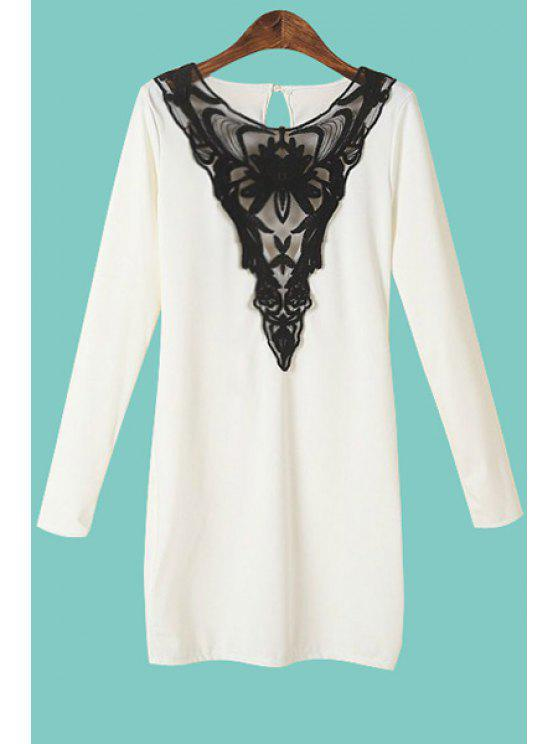 shop Lace Spliced Long Sleeves Dress - WHITE S