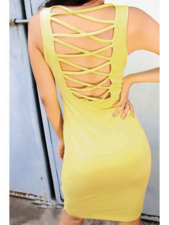 fancy Solid Color Back Openwork Sleeveless Dress - YELLOW ONE SIZE(FIT SIZE XS TO M)