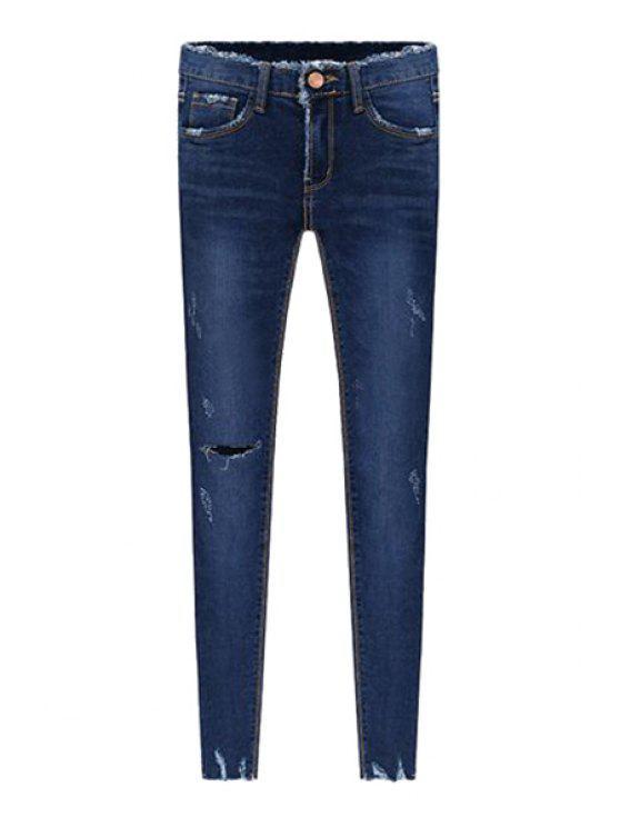 chic Destroy Wash Vintage Jeans - BLUE 26