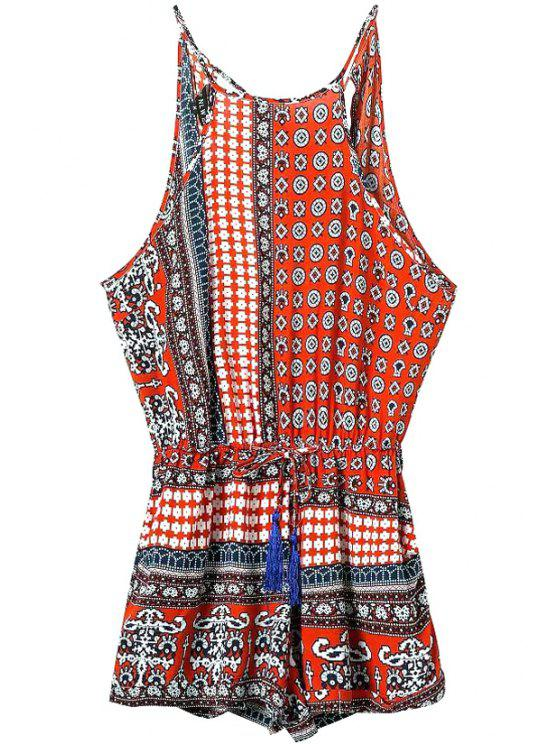 women's Red Ethnic Print Spaghetti Straps Romper - RED L