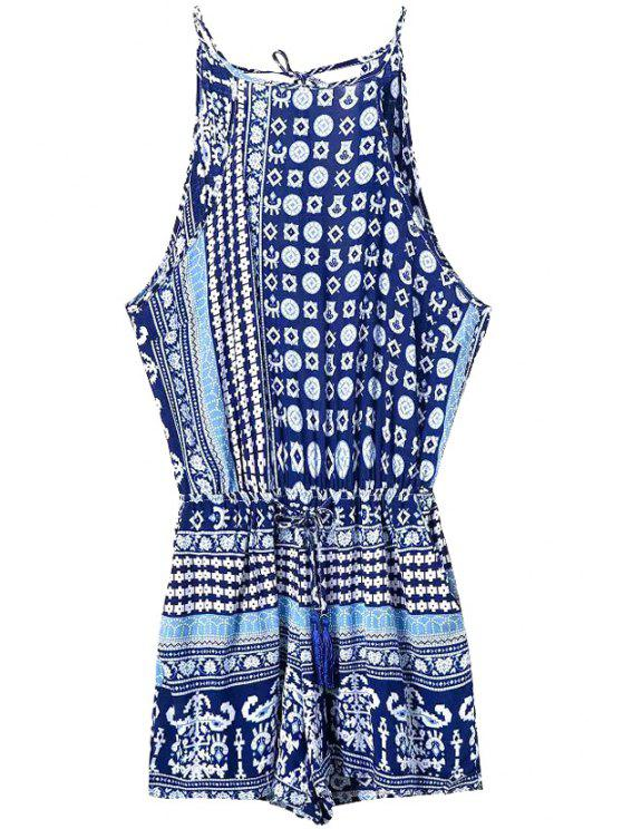 latest Blue Ethnic Print Spaghetti Straps Romper - PURPLISH BLUE L