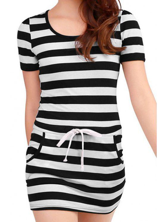 new Tie-Up Stripe Short Sleeve Dress - BLACK L