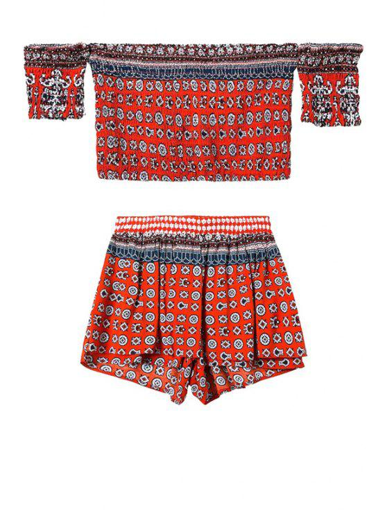 fancy Ethnic Print Crop Top and Shorts Suit - RED S
