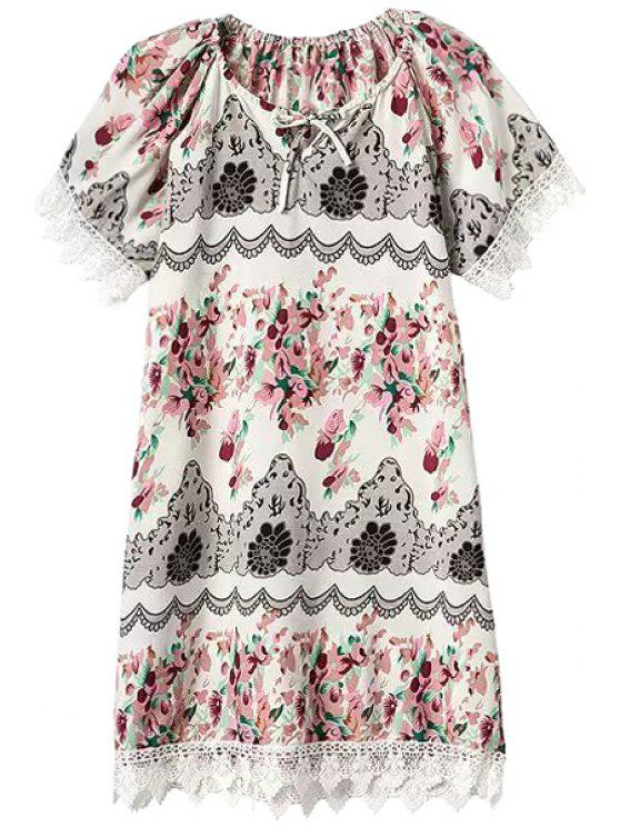 online Tiny Floral Short Sleeve Lacework Dress - LATERITE S
