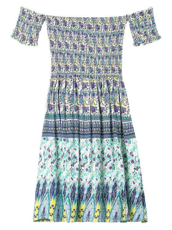 women's Print Spliced Slash Neck Dress - PURPLE S