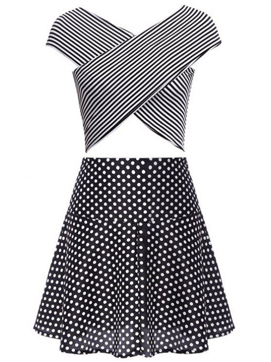 trendy Stripe Cross Tank Top + Polka Dot Skirt - BLACK M