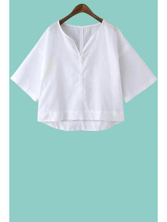buy Solid Color Half Sleeve Linen Blouse - WHITE S