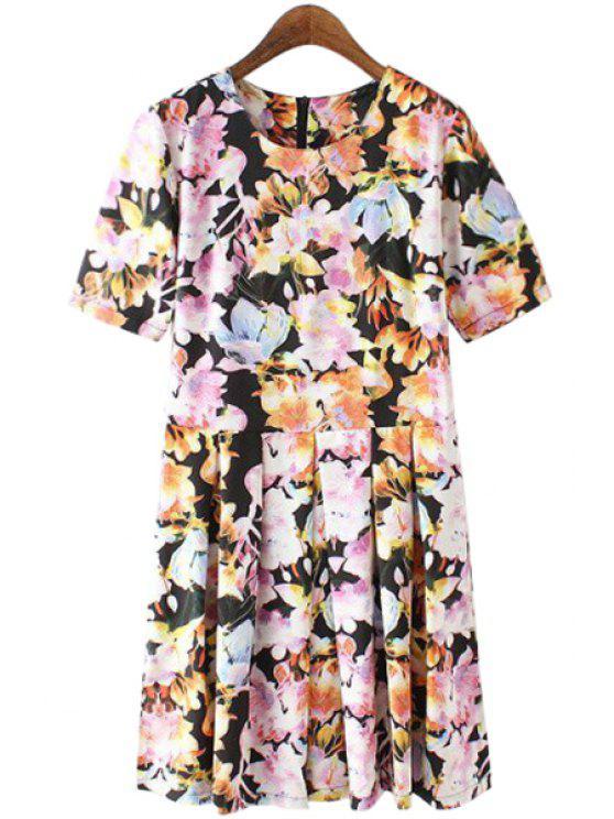 outfits Flower Pattern Short Sleeve Dress - ORANGEPINK S