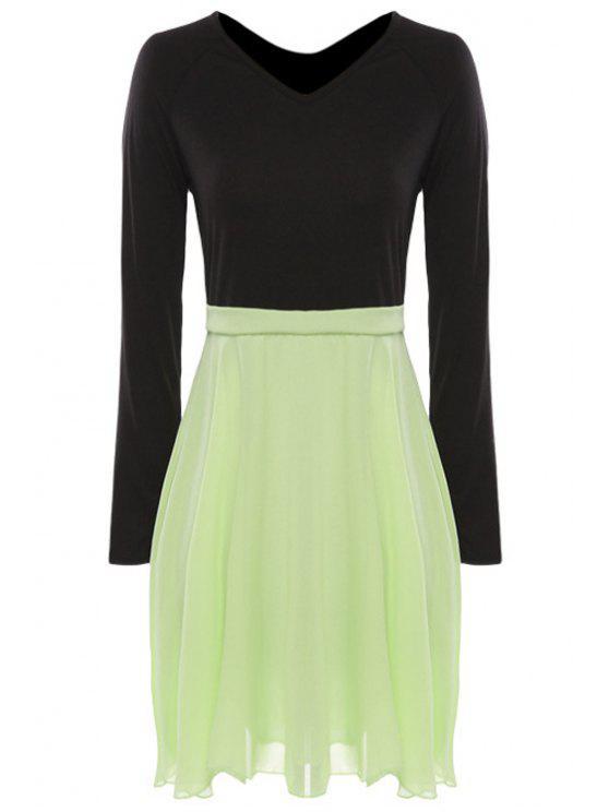 affordable Chiffon Splicing Color Block Long Sleeve Dress - GREEN M