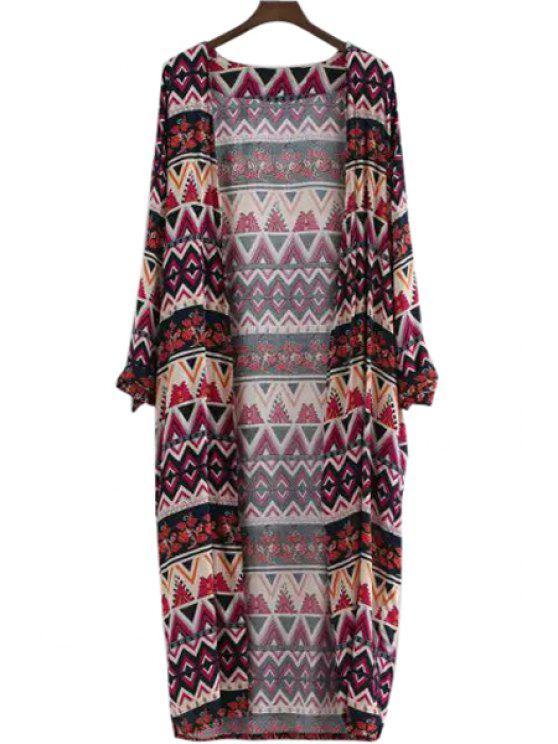 new Long Sleeve Argyle Pattern Blouse - DEEP RED M
