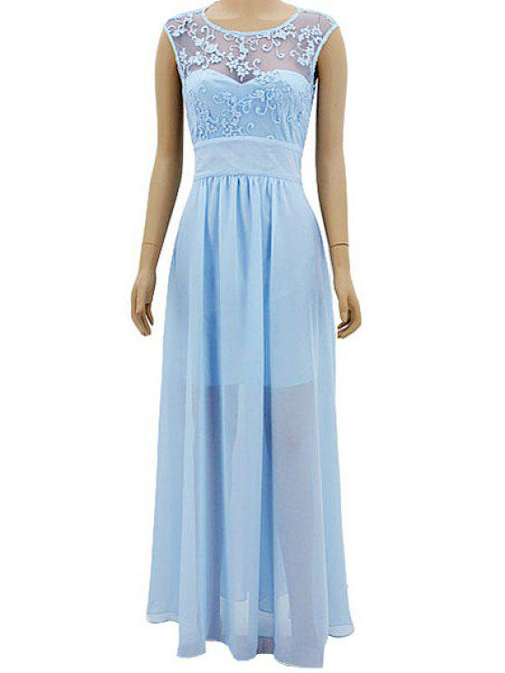 shops Lace Chiffon Splicing Solid Color Dress - LIGHT BLUE S