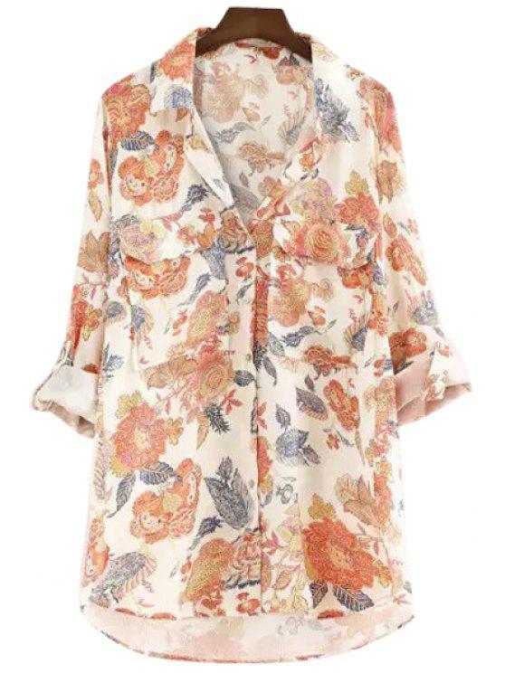 shop Floral Long Sleeve Pockets Shirt - ORANGEPINK S