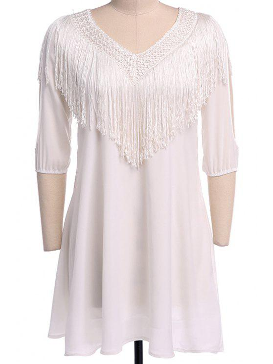 unique Fringe Splicing Openwork Half Sleeve Dress - WHITE S