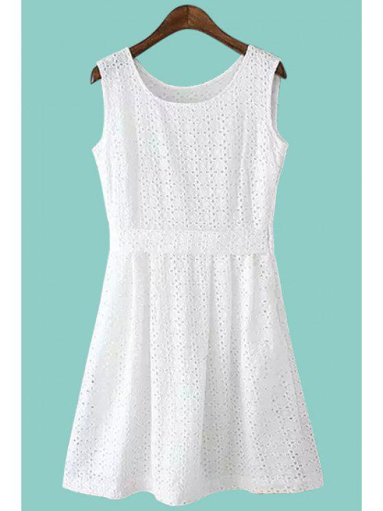affordable White Hollow A-Line Sundress - WHITE S