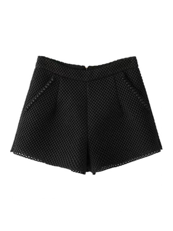latest Solid Color Wide Leg Hollow Shorts - BLACK S