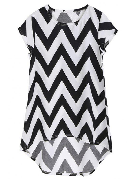 chic Ripple Print Asymmetrical Dress - WHITE AND BLACK M