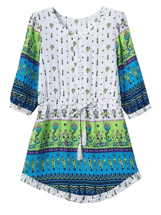 women Print Spliced Half Sleeve Dress - GREEN S