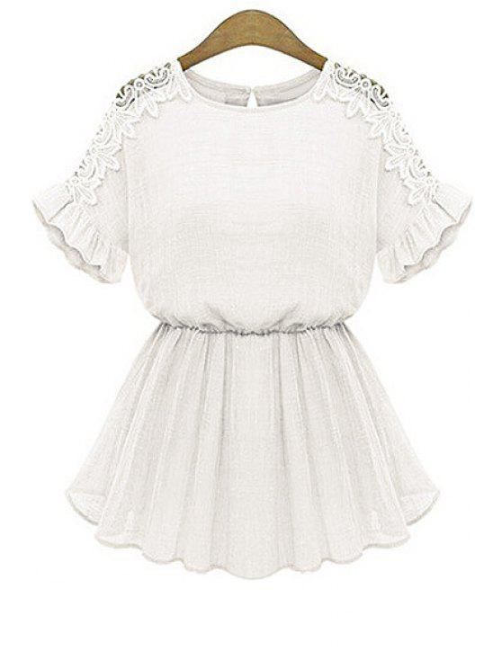 affordable Flounce Splicing Openwork Solid Color Dress - WHITE M
