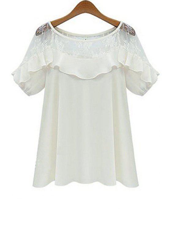 trendy Short Sleeve Lace Spliced Blouse - WHITE S