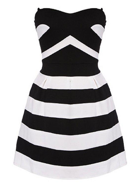 womens Striped Strapless A-Line Dress - WHITE AND BLACK S
