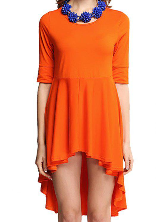 outfits High-Low Hem Half Sleeve Dress - ORANGE ONE SIZE(FIT SIZE XS TO M)