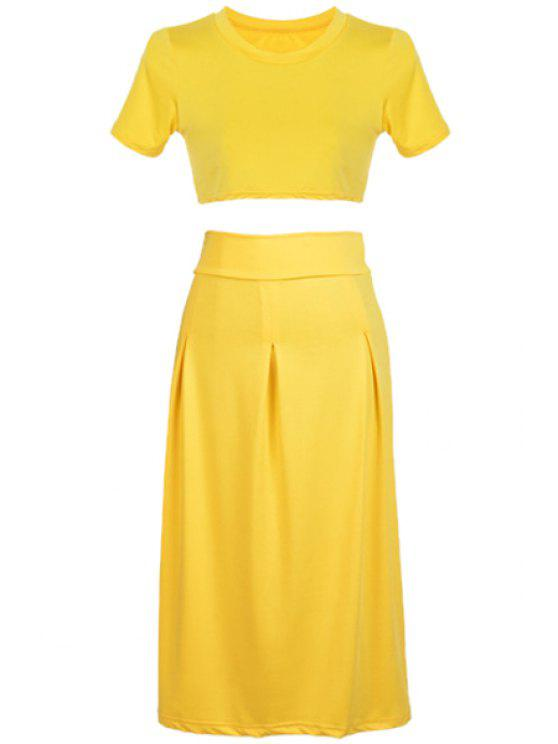 lady Yellow Short Sleeve Crop Top and Skirt Suit - YELLOW S