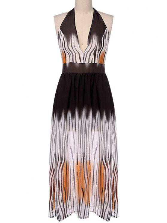 outfit Tiger Print Halterneck Maxi Dress - TIGER PRINT S