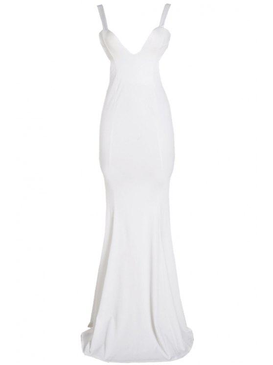 hot Solid Color Backless Sleeveless Maxi Dress - WHITE L