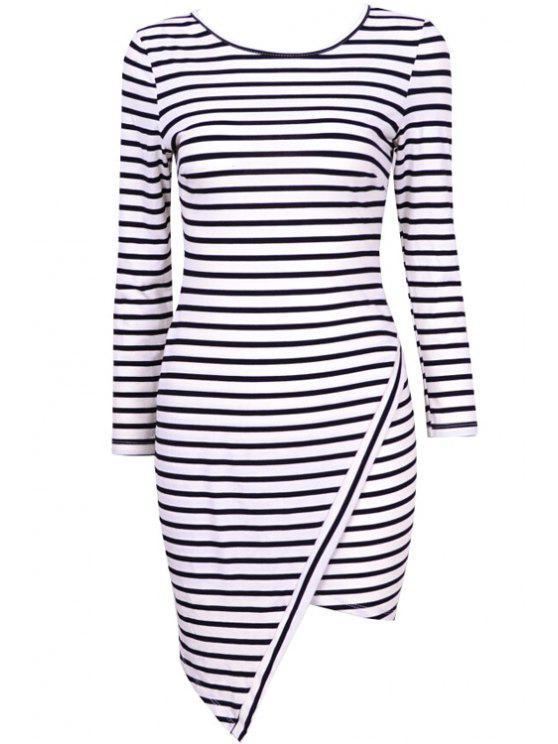 unique Asymmetrical Stripe Long Sleeve Dress - WHITE M