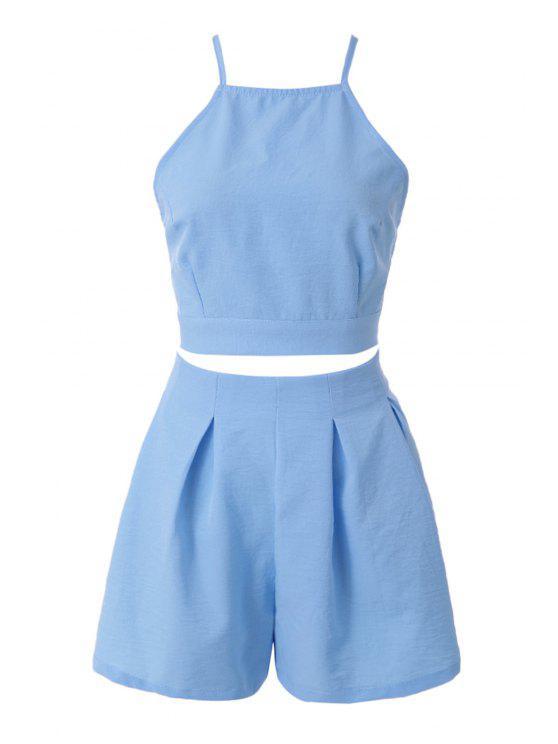 women's Solid Color Tie-Up Tank Top + Shorts - LIGHT BLUE M