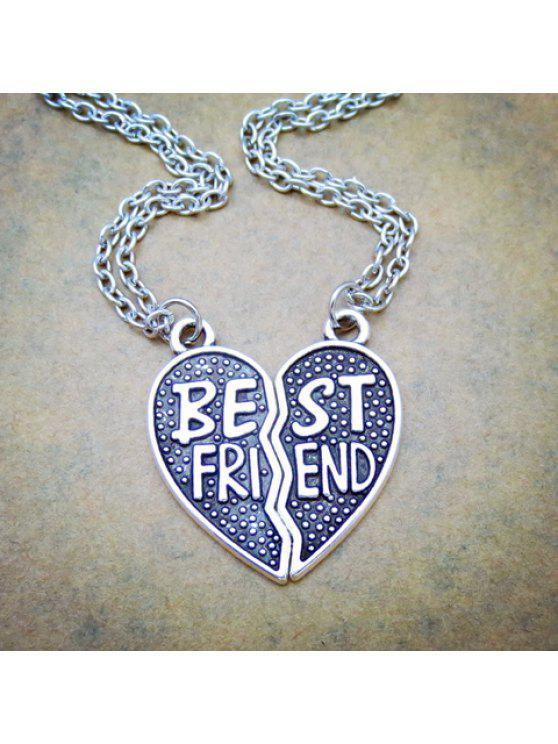 latest Pair of Classic Letter Heart Pendant Necklaces For Lovers - SILVER