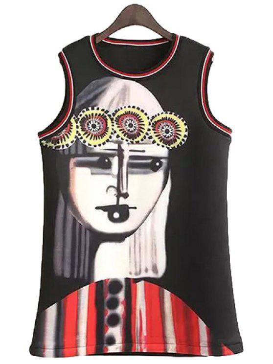 outfit Figure Print Sleeveless Dress - BLACK ONE SIZE(FIT SIZE XS TO M)