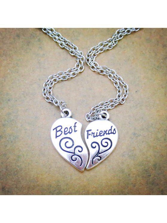 shop Pair of Retro Letter Heart Flower Pattern Pendant Necklaces For Lovers - SILVER