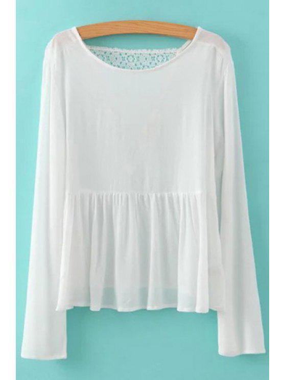hot Back Lace Splicing Ruffle Long Sleeve Shirt - WHITE S