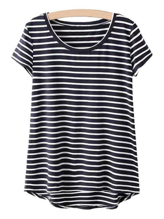 buy Asymmetrical Stripe Short Sleeve T-Shirt - BLACK ONE SIZE(FIT SIZE XS TO M)